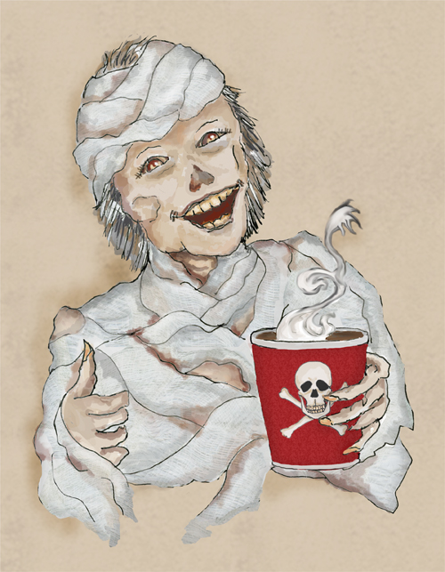 A mummy gives a thumbs up while holding a cup of hot gourmet coffee.