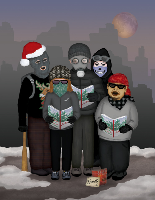 Five Antifa La La La carolers dressed in black are singing carols