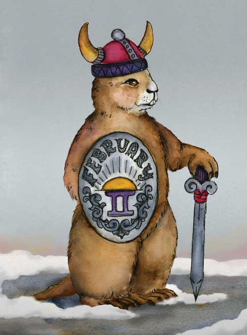 A groundhog is dressed as a viking