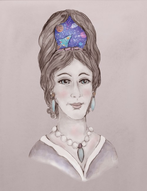 Painting of woman with bouffant hair containing images of outer space