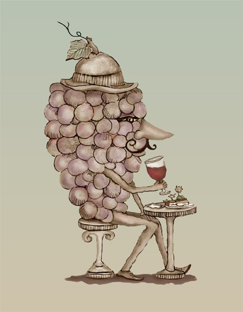 A grape man with a hat drinking a class of wine.